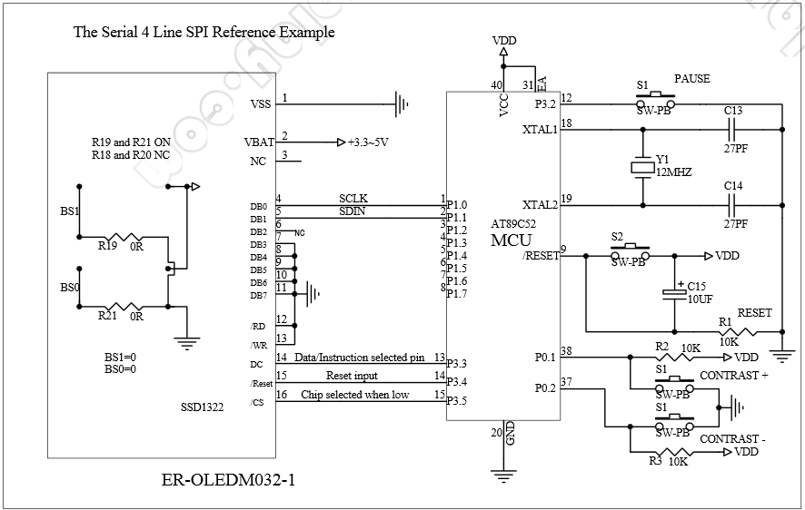 SSD1322 Connection to MCU